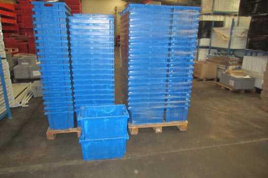 Container stockage occasion bleu plastique